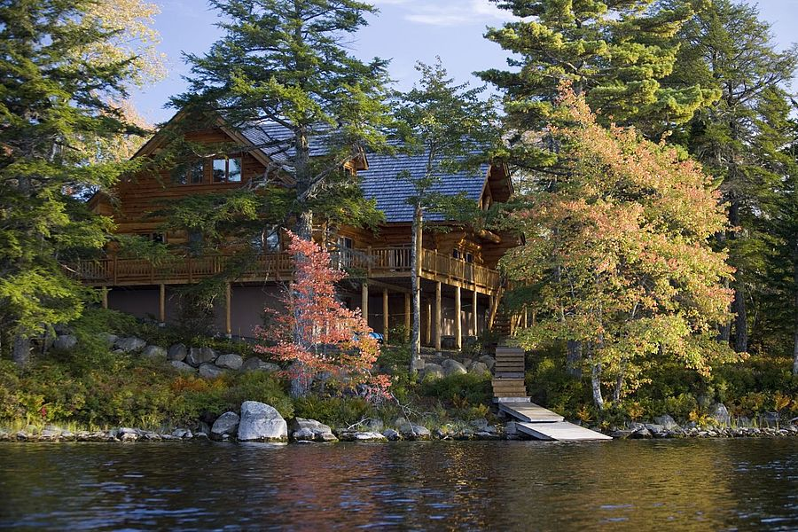 Private Islands For Rent Log House At Johns Back Lake
